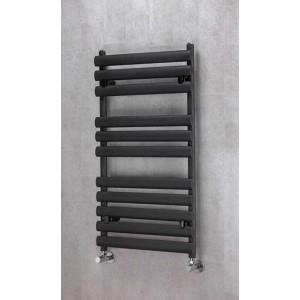 500mm(w) x 930mm(h) Brecon Black Towel Rail - Oval Tubes