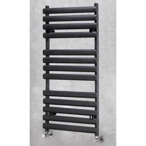 500mm(w) x 1200mm(h) Brecon Black Oval Tube Towel Rail