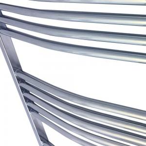 400mm  x 1200mm Curved Chrome Towel Rail