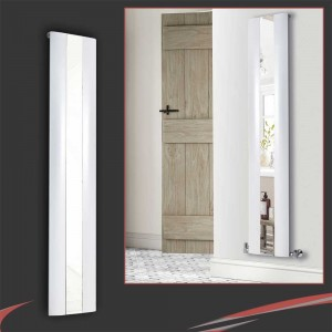 "365mm(w) x 1800mm(h) ""Thor"" White Vertical Aluminium Mirror Radiator"