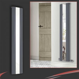 "365mm(w) x 1800mm(h) ""Thor"" Anthracite Vertical Aluminium Mirror Radiator"