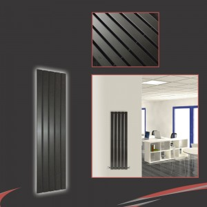 "360mm (w) x 1250mm (h) ""Corwen"" Black Flat Panel Vertical Radiator (5 Sections)"