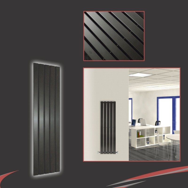 360mm x 1250mm Corwen Black Vertical Radiator