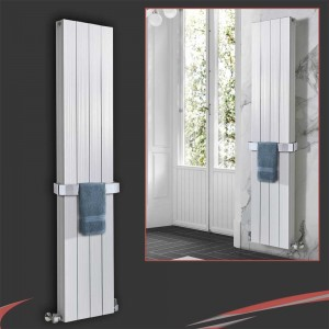 "375mm (w) x 1200mm (h) ""Newborough"" White Double Aluminium Radiator"