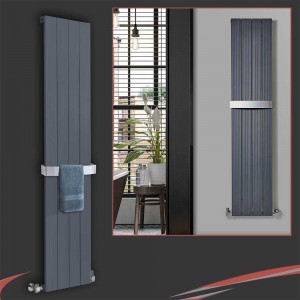 "375mm (w) x 1800mm (h) ""Newborough"" Anthracite Aluminium Radiator"