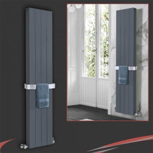 "375mm (w) x 1800mm (h) ""Newborough"" Anthracite Double Aluminium Radiator"