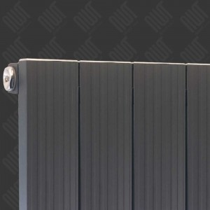 "375mm (w) x 1200mm (h) ""Newborough"" Anthracite Vertical Single Panel Aluminium Radiator (4 Extrusions)"