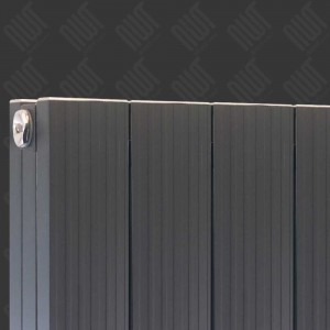 "375mm (w) x 1800mm (h) ""Newborough"" Anthracite Vertical Double Panel Aluminium Radiator (4 Extrusions)"