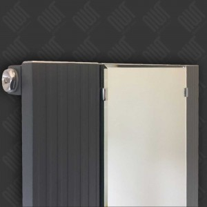 "465mm (w) x 1700mm (h) ""Newborough"" Anthracite Vertical Single Panel Aluminium Mirror Radiator"