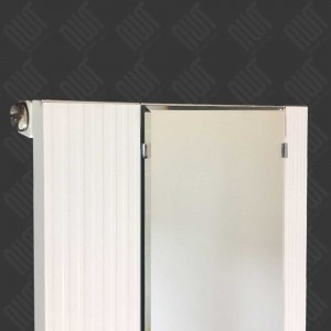 "465mm (w) x 1700mm (h) ""Newborough"" White Vertical Single Panel Aluminium Mirror Radiator"