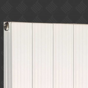 "375mm (w) x 1800mm (h) ""Newborough"" White Vertical Double Panel Aluminium Radiator (4 Extrusions)"