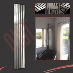 "360mm (w) x 1850mm (h) ""Corwen"" Chrome Flat Panel Vertical Radiator (5 Sections)"