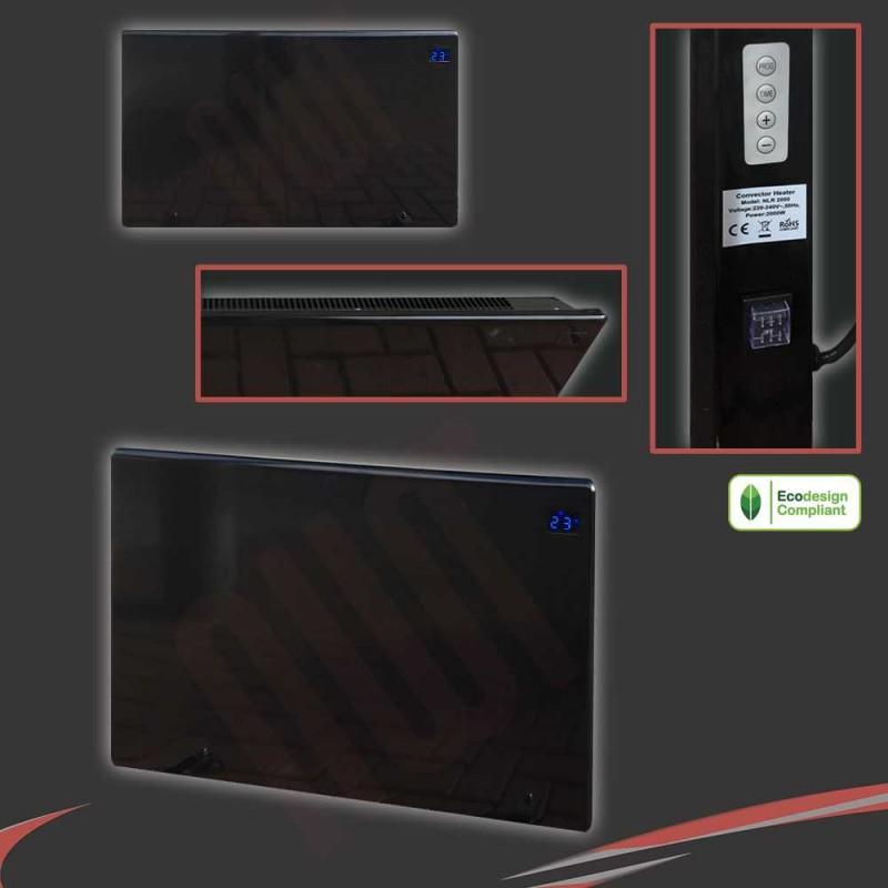 "1500W ""Nova Live R"" Black Electric Panel Heater - 600mm(w) x 400mm(h)"
