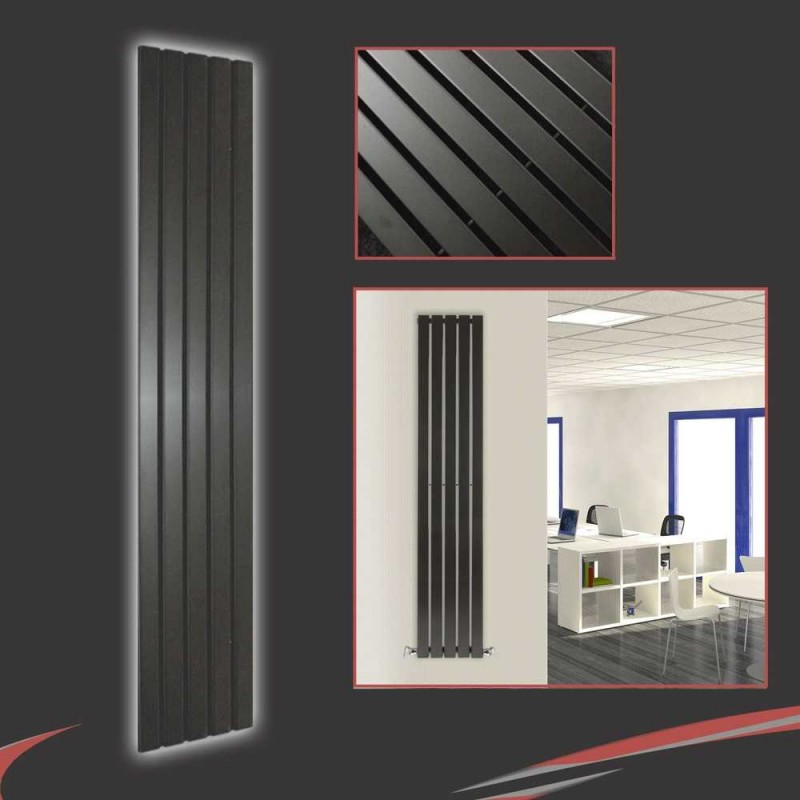 360mm x 1850mm Black Vertical Radiator
