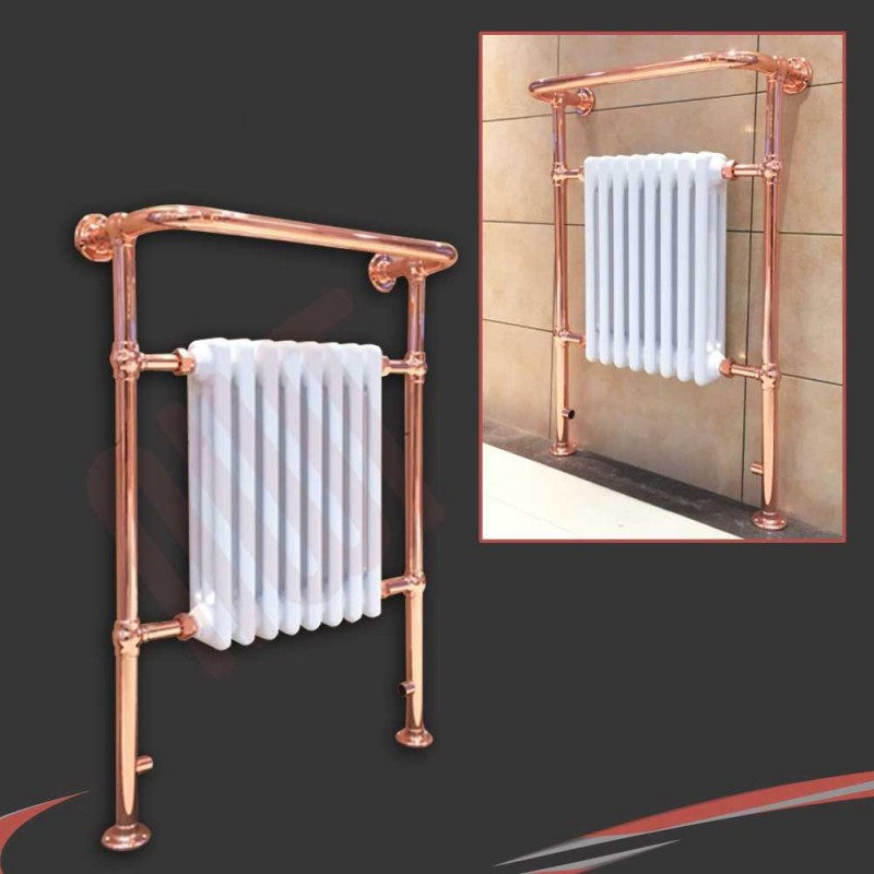 """673mm (w) x 963mm (h) """"Old Colwyn"""" Copper & White Traditional Floor Standing Towel Rail Radiator"""