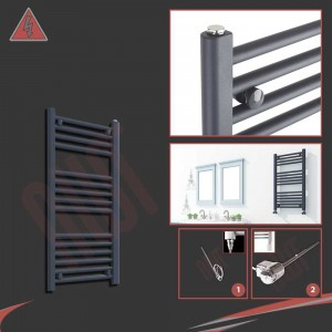 "300mm (w) x 800mm (h) Electric ""Anthracite"" Towel Rail (Single Heat or Thermostatic Option)"