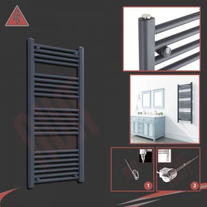 "500mm (w) x 1200mm (h) Electric ""Anthracite"" Towel Rail (Single Heat or Thermostatic Option)"