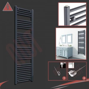 "400mm (w) x 1600mm (h) Electric ""Anthracite"" Towel Rail (Single Heat or Thermostatic Option)"