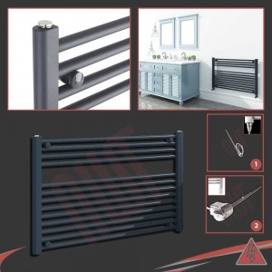"900mm (w) x 600mm (h) Electric ""Anthracite"" Towel Rail (Single Heat or Thermostatic Option)"