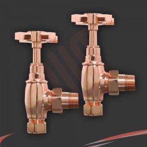 Angled Copper Cross Head Traditional Valves for Radiators & Towel Rails (Pair)