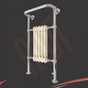 """686mm(w) x 952mm(h) """"Clematis"""" Chrome & Cream Traditional Floor Standing Towel Rail Radiator"""