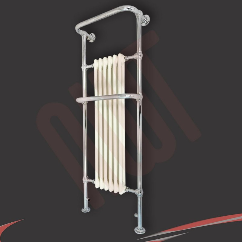 "686mm(w) x 952mm(h) ""Clematis"" Chrome & Cream Traditional Floor Standing Towel Rail Radiator"