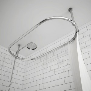 "1140mm(w) x 610mm(d) x 340mm(h) ""Carbo"" Traditional Chrome Ceiling Mounted Shower Curtain Rail & Ceiling Arms"