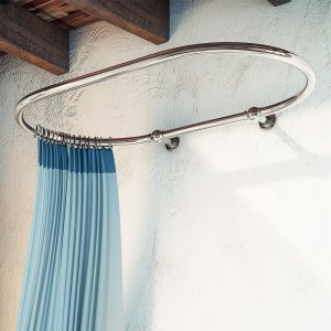 "1140mm(w) x 740mm(d) x 35mm(h) ""Carbo"" Traditional Chrome Wall Mounted Shower Curtain Rail & Ceiling Arms"