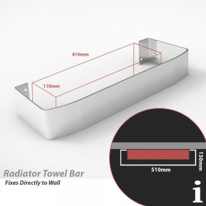 "Chrome Towel Bar for ""Cariad"" Single Vertical Aluminium Radiators"