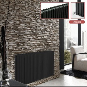 "Ultraheat ""Klon"" Designer Black D-Profile Double Horizontal Radiators (10 Sizes)"