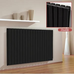 "Ultraheat ""Linear"" Black Double Flat Panel Horizontal Radiators (6 Sizes)"