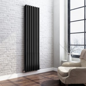 "Ultraheat ""Sofi"" Black Single & Double Oval Tube Vertical Radiators (13 Sizes)"
