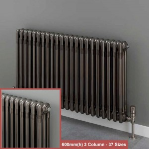 """Korona"" 3 Column Bare Metal Lacquered Horizontal Radiators (10 Sizes) + Optional Floor Mounts"