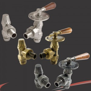 Traditional Wooden Lever Angled Manual Radiator Valves - 3 Finishes