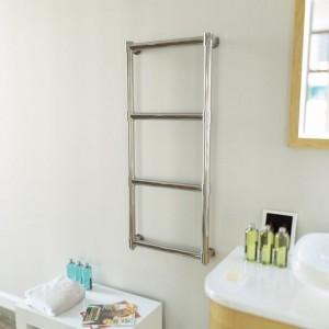 """Aeon """"Tudor"""" Designer Polished Stainless Steel Towel Rail"""