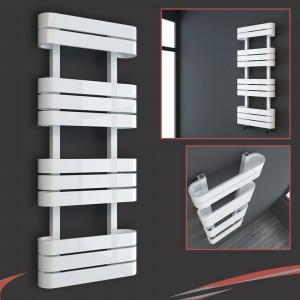 "500mm(w) x 1200mm(h) ""Barlo"" White Designer Towel Rail"