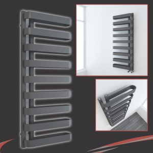 """500mm(w) x 1300mm(h) """"Barlo"""" Anthracite Designer Towel Rail (Left or Right Install)"""