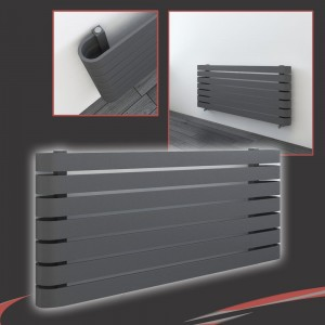 "1200mm(w) x 500mm(h) ""Barlo"" Anthracite Designer Horizontal Radiator (7 Sections)"