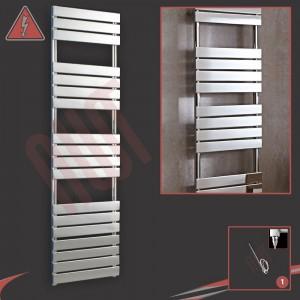 500mm (w) x 1800mm (h) Vega Electric Chrome Designer Towel Rail (Single Heat or Thermostatic Option)