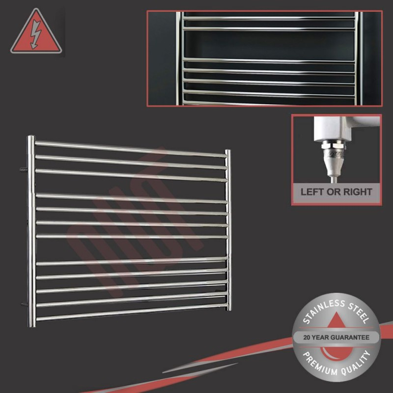 """1000mm (w) x 800mm (h) Electric Polished """"Stainless Steel"""" Towel Rail (Single Heat or Thermostatic Option)"""