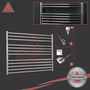"1000mm (w) x 800mm (h) Electric Polished ""Stainless Steel"" Towel Rail (Single Heat or Thermostatic Option)"