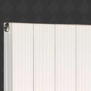 "375mm (w) x 1200mm (h) ""Newborough"" White Vertical Double Panel Aluminium Radiator (4 Extrusions)"