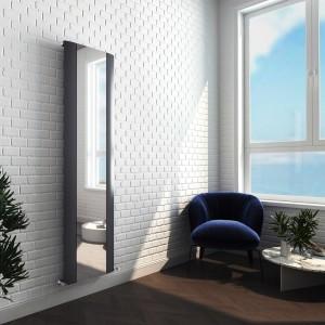 "470mm (w) x 1800mm (h) ""Cariad"" Single Panel Anthracite Vertical Aluminium Mirror Radiator"