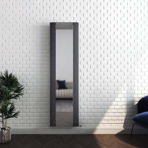 "470mm (w) x 1700mm (h) ""Cariad"" Single Panel Anthracite Vertical Aluminium Mirror Radiator"