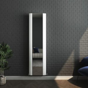 "470mm (w) x 1700mm (h) ""Cariad"" Single Panel White Vertical Aluminium Mirror Radiator"