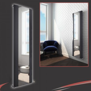 "470mm (w) x 1800mm (h) ""Cariad"" Single Panel Anthracite Vertical Aluminium Mirror Radiator"