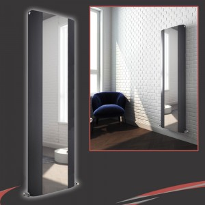 "470mm (w) x 1800mm (h) ""Cariad"" Double Panel Anthracite Vertical Aluminium Mirror Radiator"