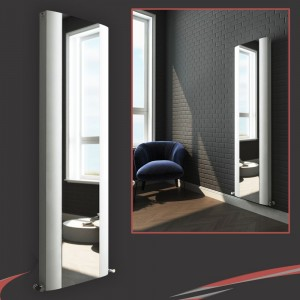 "470mm (w) x 1800mm (h) ""Cariad"" Double Panel White Vertical Aluminium Mirror Radiator"