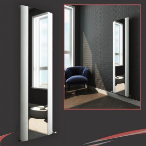 "470mm (w) x 1800mm (h) ""Cariad"" Single Panel White Vertical Aluminium Mirror Radiator"
