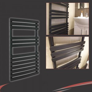 "500mm (w) x 800mm (h) ""Castell"" Black Heated Towel Rail"